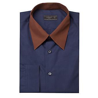 Prada Men's Contrasting Pointed Collar Cotton Dress Shirt Blue