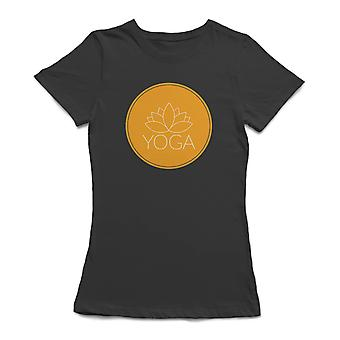 Lotus Yoga Circle Spiritual Symbol Women's Black T-shirt