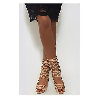 The Fashion Bible Lui Cream Caged Heels
