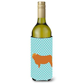 Highland Cow blauwe Check wijnfles Beverge isolator Hugger