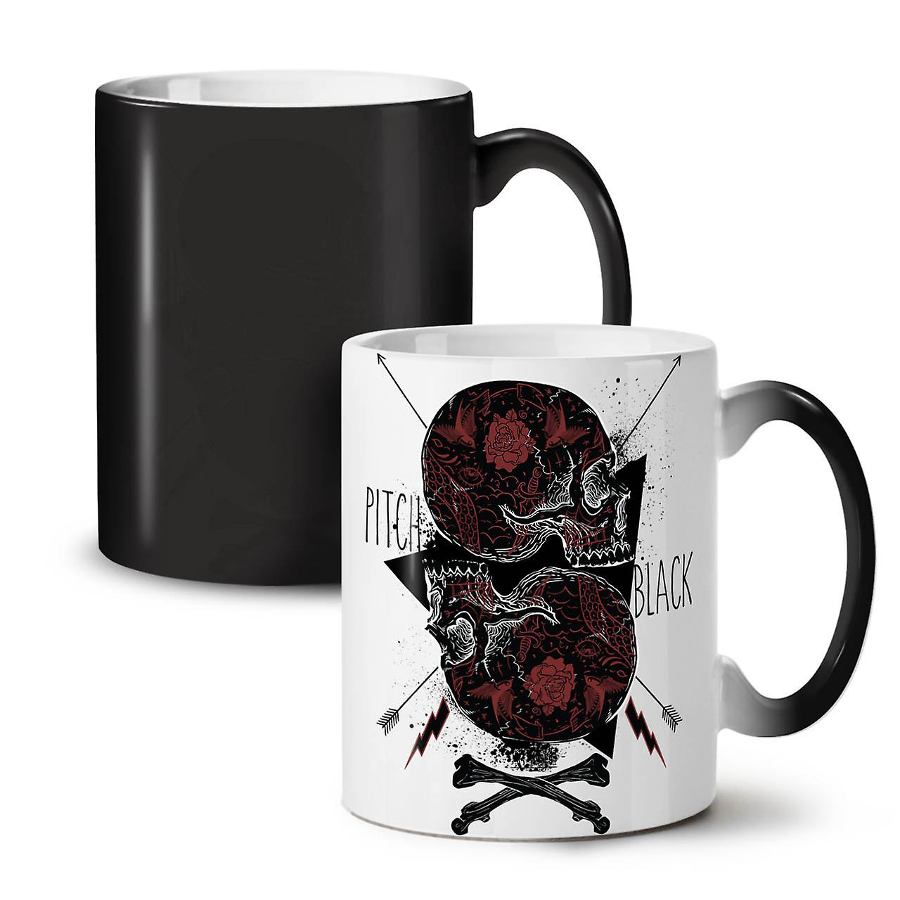 Black Head Art Skull NEW Black Colour Changing Tea Coffee Ceramic Mug 11 oz | Wellcoda
