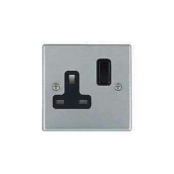 Hamilton Litestat Hartland Satin Chrome 1g 13A DP Switched Socket BL/BL