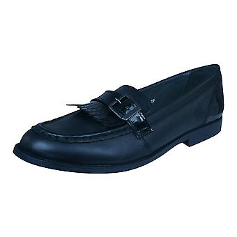 Start Rite Stowe Girls Leather Slip On School Shoes - Black