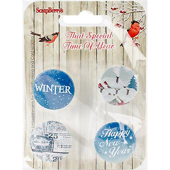 ScrapBerry's That Special Time Of Year Embellishments 4/Pkg-No.3-1 SCB1015