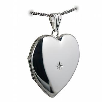 Silver 30x28mm handmade diamond set heart shaped Locket with a curb Chain 18 inches