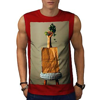Vegetabilsk taske vegansk mad mænd RedSleeveless T-shirt | Wellcoda
