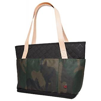 Token Clinton Quilted Waxed Small Tote Bag - Camouflage/Black