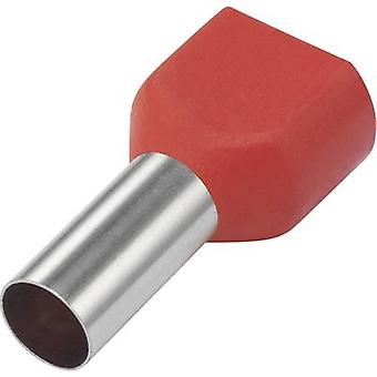Twin ferrule 2 x 10 mm² x 14 mm Partially insulated Red Conrad C