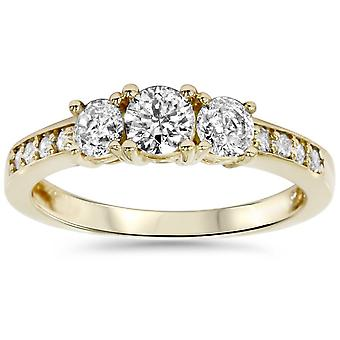 1ct 3 Stone Diamond Engagement Ring 14K Yellow Gold