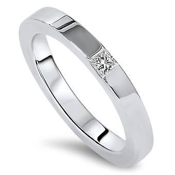 La princesa cortó anillo 14K oro blanco