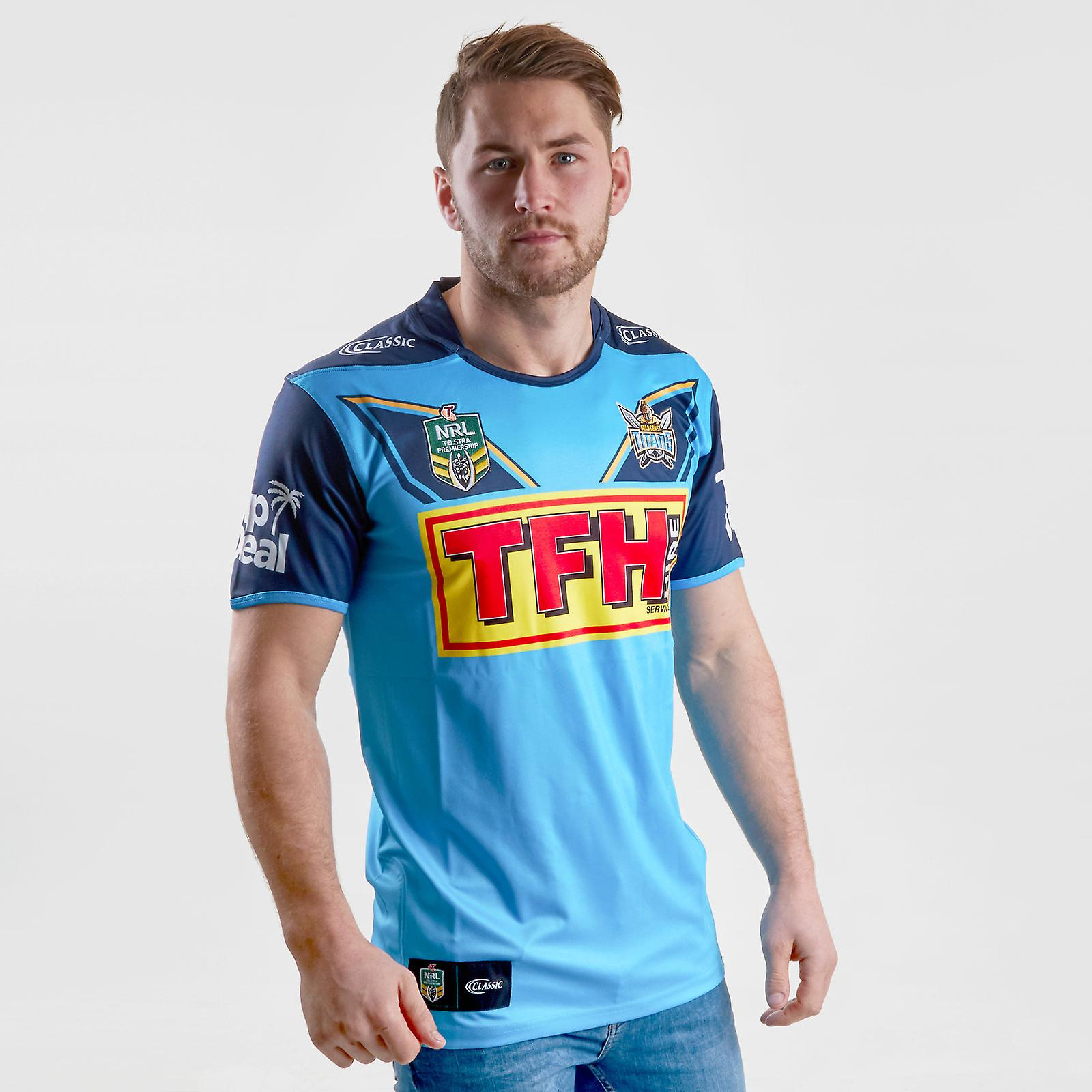 Classic Sportswear or Coast Titans 2018 NRL Home S S Rugby Shirt