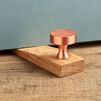 Modern Brushed Brass Round Copper Oak Wedge Door Stop