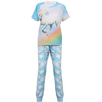 Christmas Womens/Ladies Short Sleeve Elasticated Unicorn Pyjamas