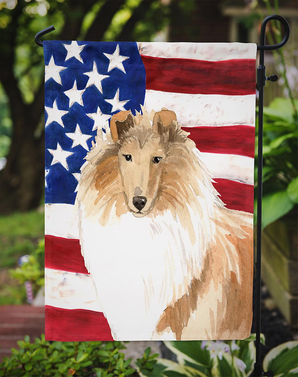 Carolines Treasures  CK1719GF Patriotic USA Rough Collie Flag Garden Size
