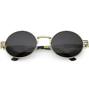 Steampunk Inspired Oval Sunglasses Unique Engraved Metal Neutral Lens 60mm