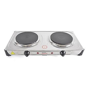 Lloytron Kitchen Perfected Double Hotplate 2500 W Brushed Steel (E4203SS)