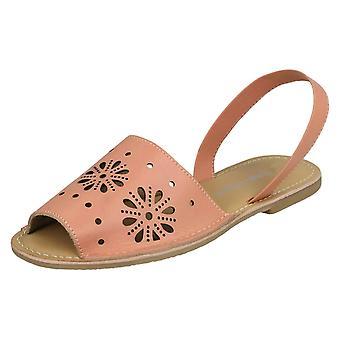 Ladies Leather Collection Flower Design Mules F00144 - Pink Leather - UK Size 6 - EU Size 39 - US Size 8
