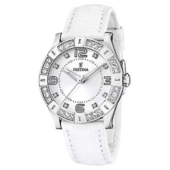 Festina Womens' Stainless Steel Crystal-Set wit lederen riem F16537/1 Watch