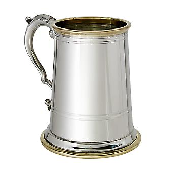 Wortley Glass Base 1 Pint Pewter And Brass Tankard