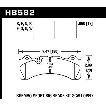 Hawk Performance HB582Q.660 Disc Brake Pad DTC-80 w/0.660 Thickness Fits Brembo Scalloped Disc Brake Pad