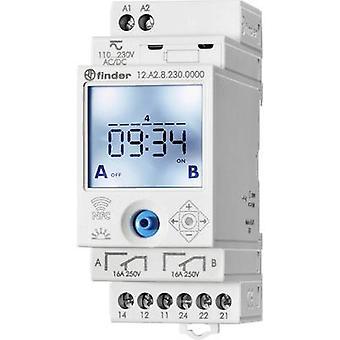 DIN rail mount timer Operating voltage: 230 V AC Finder 12.A2.8.230.0000