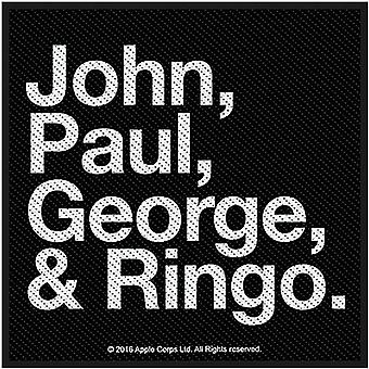 Beatles John Paul George & Ringo coudre-sur brodé tissu Patch 100 X 100 Mm