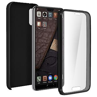 Silicone case + back cover in polycarbonate for Huawei P20 - Black