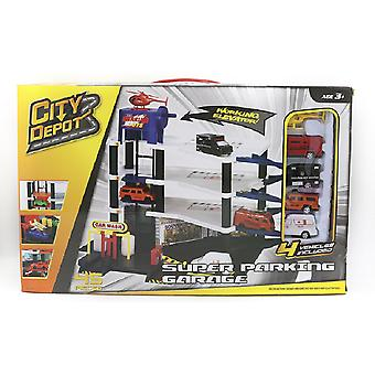 City Depot Super Parking Garage With 4 Vehicles Playset