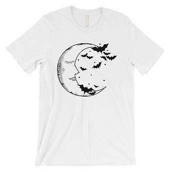 Moon And Bats Mens White T-Shirt