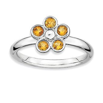 Sterling zilveren omlijsting gepolijst Rhodium-plated stapelbare expressies Citrien Flower Ring - Ringmaat: 7 t/m 9