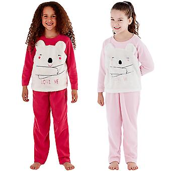 Selena Girl Kids Childrens CiCi Bear Love Me Fleece Loungewear Pyjamas Pjs Set