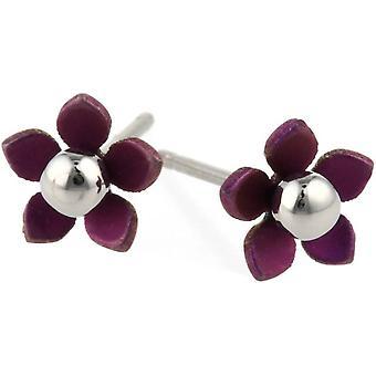 Ti2 tytan 8mm pięć płatek polerowane kulki Kwiat kolczyki - Kawa Brown