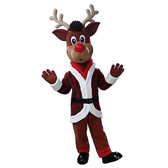 mascot SPOTSOUND holding red and White Christmas Reindeer