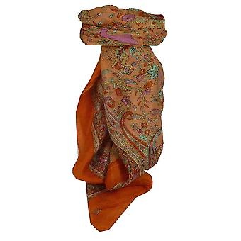 Mulberry Silk Traditional Square Scarf Goral Terracotta by Pashmina & Silk