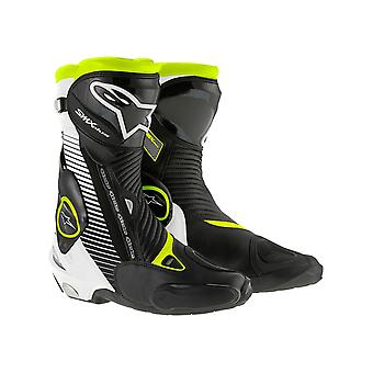Alpinestars Black-White-Fluorescent Yellow SMX Plus Motorcycle Boots
