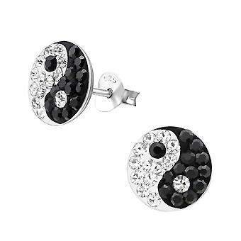 Yin & Yang - 925 Sterling Silver Crystal Ear Studs - W9878X