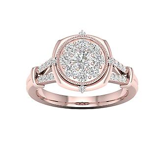 DE COUER 3/4Ct TDW Diamond 14k Rose Gold Split Shank Cluster Engagement Ring (I-J, I2)