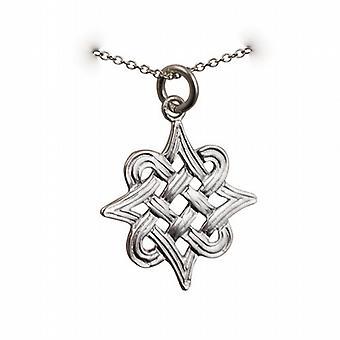 Colgante de plata 23x23mm islámica adorno con un rolo cadena de 24 pulgadas