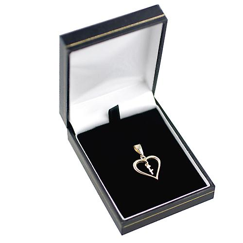 9ct Gold 18x18mm heart Pendant with a hanging Initial F