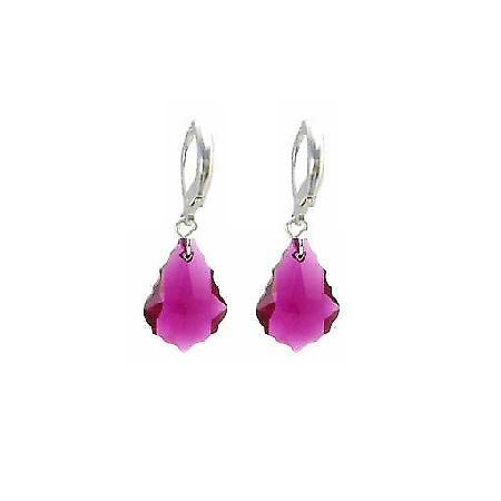 Trendy Ruby Baroque Crystal Sterling Lever Back 92.5 Earrings