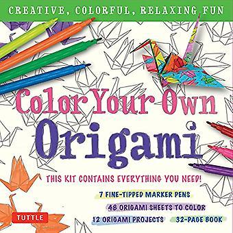 Kleur je eigen Origami Kit: Creatief, kleurrijk, ontspannen plezier: 7 Fine-Tipped Markers, 12 projecten, 48 Origami Papers & volwassen kleurplaten Origami instructie boek