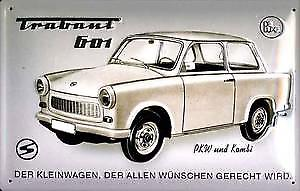 Trabant (monochrome) embossed steel sign