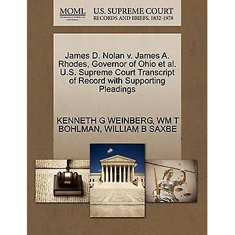 James D. Nolan v. James A. Rhodes Governor of Ohio et al. U.S. Supreme Court Transcript of Record with Supporting Pleadings by WEINBERG & KENNETH G