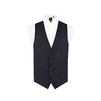 Dobell Mens Navy Pinstripe Waistcoat Regular Fit 5 Button