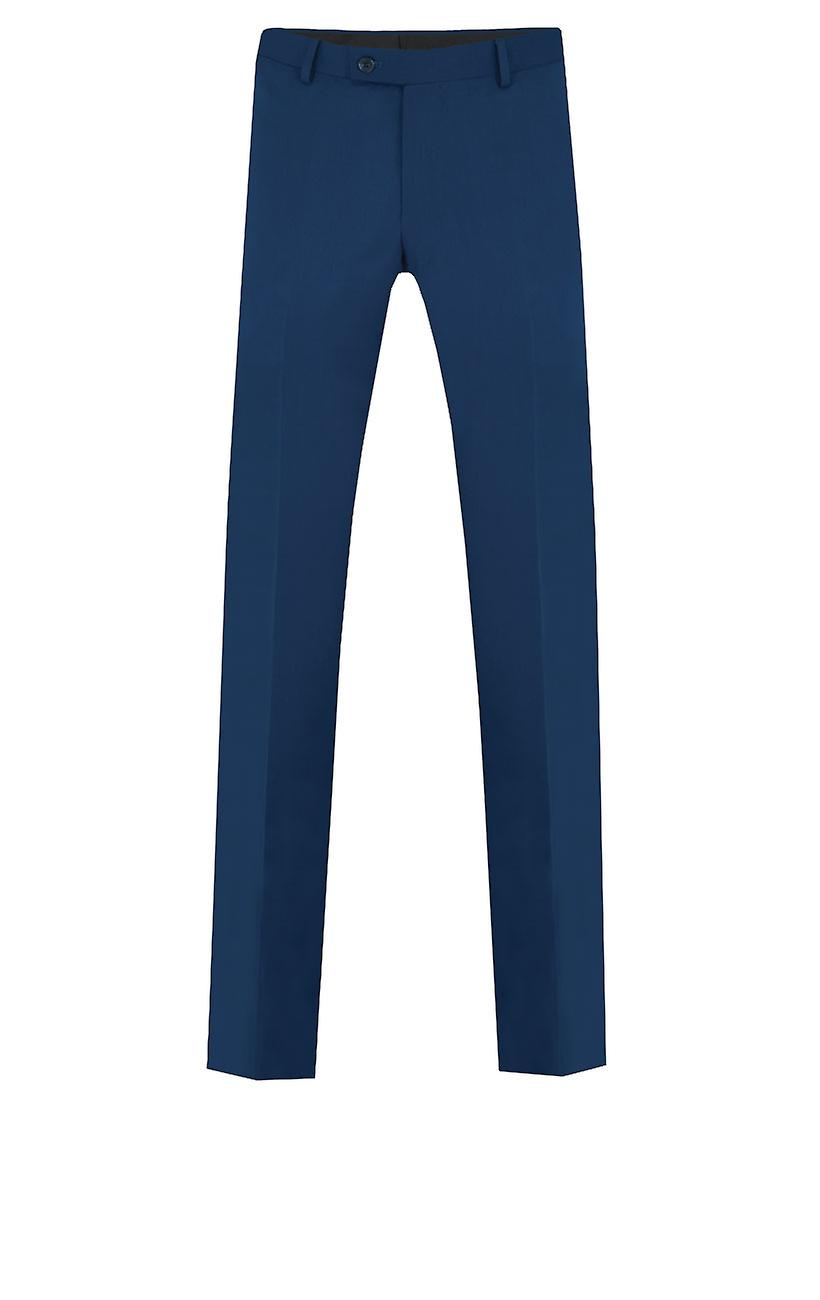 Dobell Mens Bright Blue Suit Trousers Tailored Fit