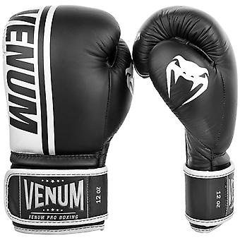 Venum Shield Pro Hook & Loop Leather Boxing Gloves - Black/White