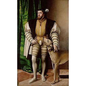 Emperor Charles V with his Ulm Mastiff, Jacob Seisenegger, 60x36cm