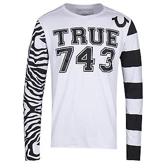 True Religion Long Sleeve Contrast Print White & Black T-Shirt