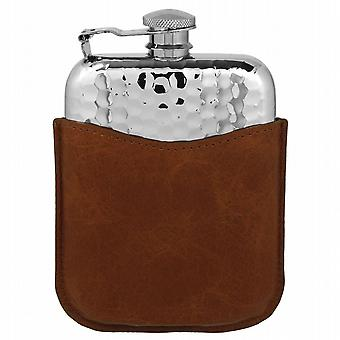 6oz  Hammered Purse Flask Captive Top & Pouch - Plf04