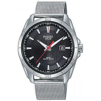 Pulsar Mens Solar | Black Dial | Stainless Steel Mesh Bracelet | PX3171X1 Watch